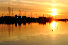 Summer evening landscape at the sea. In harbor Royalty Free Stock Photo