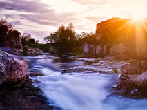Summer evening on the mountain river Royalty Free Stock Image