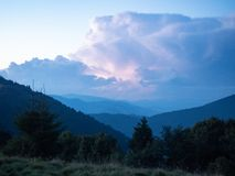 Summer evening in mountains. Carpathians mountains, west Ukraine. Landscape of green trees, hillsides covered with dense. Forest. Cloudscape of big cumulus stock image