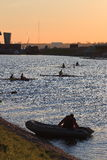 A summer evening on the rowing channel in Saint-Petersburg Stock Photo