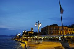 Summer evening scene at coastal mediterranean city royalty free stock images