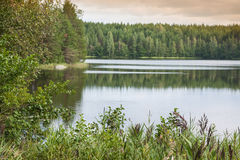 Summer evening scene at Ruunaa hiking area, Finland Royalty Free Stock Photography