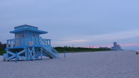 Summer evening sunset miami beach lifeguard tower panorama 4k time lapse usa. Usa summer evening sunset miami beach lifeguard tower panorama 4k time lapse stock footage
