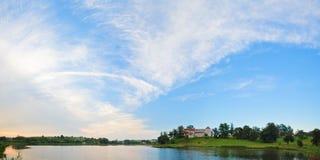 Summer evening Svirzh Castle view (Ukraine). Royalty Free Stock Photography