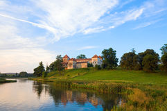 Summer evening Svirzh Castle view(Ukraine). Royalty Free Stock Photos