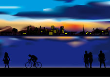 Summer evening in the town. This image is a vector illustration and can be scaled to any size without loss of resolution. This image will download as an EPS file Stock Images