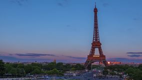 Summer Evening and Traffic near the Eiffel Tower. Time Lapse stock video