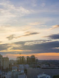 Summer evening in Voronezh .Cityscape from rooftop. Beautiful warm sunset Royalty Free Stock Images