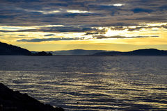 Summer eveninig on The coast of Trondheim. It is a colorful sunset Stock Photography