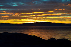 Summer eveninig on the coast of Trondheim. It is a colorful sunset with a boat and birds Royalty Free Stock Image