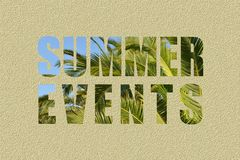 Summer events text with blue sky and palm leaves Stock Photography
