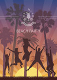 Summer Exotic Banner with Palm Trees for Beach Party. Royalty Free Stock Image
