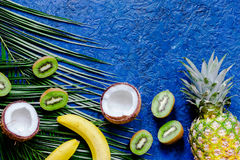 Summer exotic fruits. Kiwi, pineapple, banana, coconut and palm branch on blue background top view copyspace stock photo