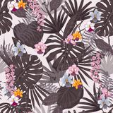 Summer Exotic tropical  background with hawaiian plants an. D flowers. Seamless pink tropical pattern with monstera and sabal palm leaves, guzmania flowers Royalty Free Stock Photography
