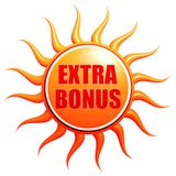Summer extra bonus in 3d sun label Royalty Free Stock Image