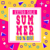 Summer extra sale banner for booklet, flyer, poster, advertising logo, leaflet for the store template design. The modern image. For social media. Memphis Style royalty free illustration