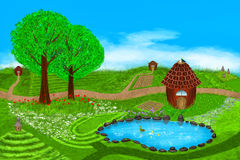 Summer. A fabulous summer illustration. Fields, flowers, beehives, lake, ducks, houses and more on this beautiful summer illustration. Digital art style Stock Photos