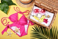 Summer facial skincare protection, Sun protection with bikini fashion. stock images