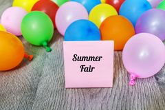 Summer Fair Message in  Balloon Frame Royalty Free Stock Image