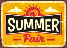 Summer fair retro tin sign design concept Stock Image