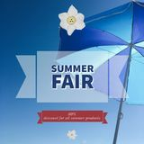 Summer fair sale banner. With beach umbrella background. This can be use for shops, restaurants and offices royalty free illustration