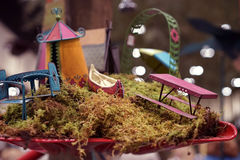 Summer fairy garden furniture Royalty Free Stock Images