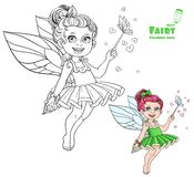 Summer fairy with magic wand and butterflies color and outlined Royalty Free Stock Photos