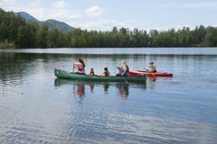 Summer Family Fun Day Reflections Lake Alaska Royalty Free Stock Image