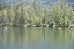 Summer Family Fun Day Reflections Lake Alaska Stock Photography