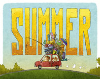 Summer family journey. Illustration of family journey with the word summer behind Royalty Free Stock Image