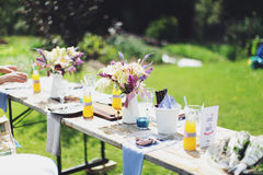 Summer family picnic outdoors. Summer family picnic in the countryside with fresh juice and fruit Royalty Free Stock Photography