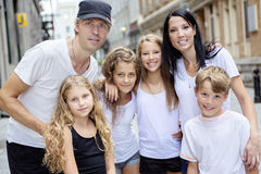 Summer family portrait of parents and kids outside Stock Photography