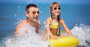 Summer, family and vacation concept. Happy father with daughter having fun.Summer, family and vacation concept Stock Photo