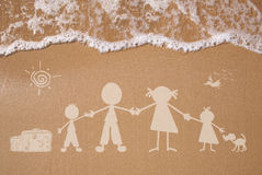 Summer family vacations. Stick figure family travels at the beach as concept Royalty Free Stock Photos