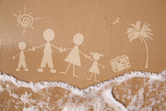 Summer family vacations, on wet sand texture. Stick figure family travels at the beach as a concept Royalty Free Stock Photos