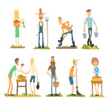 Summer Farm Activities. Flat Vector Set vector illustration
