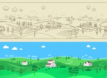Summer Farm Landscape Seamless Background Royalty Free Stock Photo