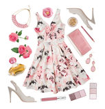 Summer fashion clothing and accessories of elegant woman Royalty Free Stock Photo