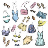 Summer fashion. collection of summer clothing and accessories Stock Images