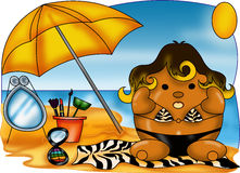 Summer fashion. Color illustration of a young on the beach with everything you need for make-up Royalty Free Stock Photo