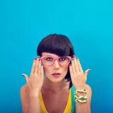 Summer Fashion girl with glasses Royalty Free Stock Images