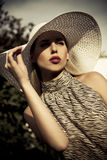 Summer fashion girl with hat. Beautiful summer fashion girl with hat Stock Photo