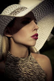 Summer fashion girl with hat Stock Images