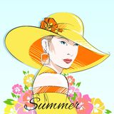 Summer fashion girl in yellow hat Stock Photography