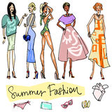 Summer Fashion hand drawn doodles Stock Photography