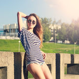 Summer Fashion Hipster Girl Relaxing Outdoors Royalty Free Stock Image