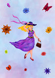 Summer Fashion Lady 2017. An abstract colorful painting illustration of an attractive young woman, walking around, smiling and wearing a hat and a dress and a Stock Images