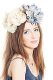 Summer fashion look woman with rose Royalty Free Stock Images