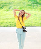 Summer, fashion and people concept - happy stylish pretty woman Stock Photos