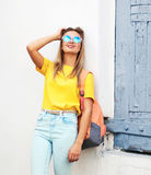 Summer, fashion and people concept - pretty cool hipster girl Royalty Free Stock Images